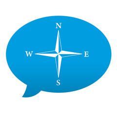 Etiqueta tipo app azul comentario simbolo brujula