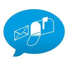 Etiqueta tipo app azul comentario simbolo buzon