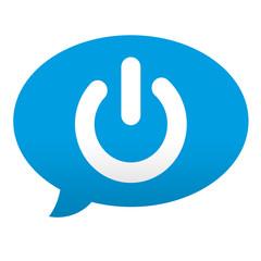 Etiqueta tipo app azul comentario simbolo power