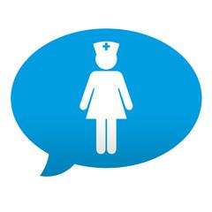 Etiqueta tipo app azul comentario simbolo enfermera
