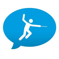 Etiqueta tipo app azul comentario simbolo esgrima