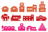 Fototapety Vector Icon Set of Houses and Homes Isolated on White Background