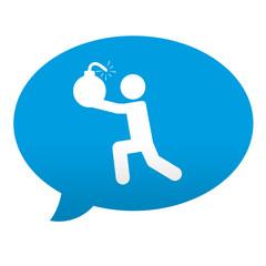 Etiqueta tipo app azul comentario simbolo terrorista