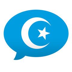 Etiqueta tipo app azul comentario simbolo islam
