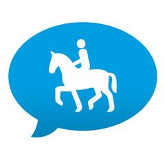 Etiqueta tipo app azul comentario simbolo jinete