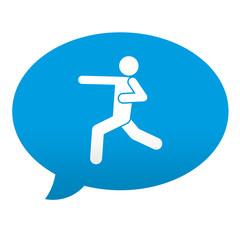 Etiqueta tipo app azul comentario simbolo karate