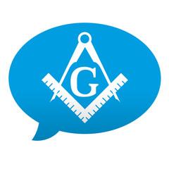 Etiqueta tipo app azul comentario simbolo masoneria