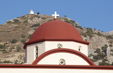 Greek church red dome in Crete. Greece