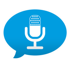Etiqueta tipo app azul comentario simbolo microfono