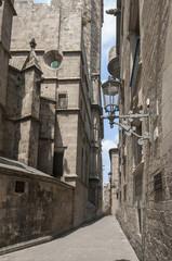 Old street in Barcelona.Catalonia.Spain