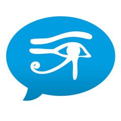 Etiqueta tipo app azul comentario simbolo jeroglifico