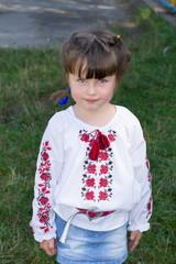 Little girl in Ukrainian blouse