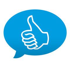 Etiqueta tipo app azul comentario simbolo OK
