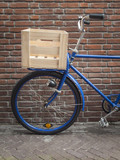 blue delivery bike