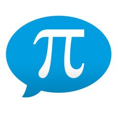 Etiqueta tipo app azul comentario simbolo pi