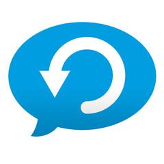 Etiqueta tipo app azul comentario simbolo reiniciar