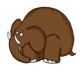 Cartoon Mammoth, vector illustration