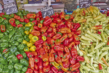 colorful organic peppers at the local market