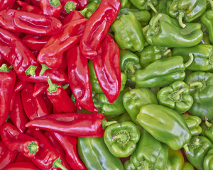 red and green natural background made of bell peppers
