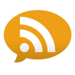 Etiqueta tipo app azul comentario simbolo RSS naranja