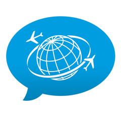Etiqueta tipo app azul comentario simbolo turismo