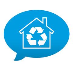 Etiqueta tipo app azul comentario simbolo reciclaje hogar