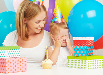 children's birthday. mom, baby daughter, balloons, cake, gifts