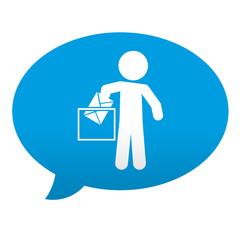 Etiqueta tipo app azul comentario simbolo votacion