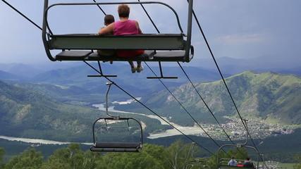 Ski chairlift on Mount Shallow Sinyuha. Altai Republic.