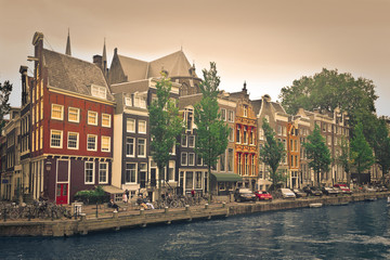 colorful landscape of amsterdam