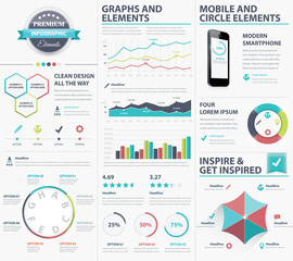 Big infographic vector elements collection to visualize data