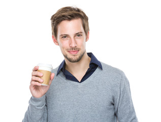 Caucasian man hold with coffee cup