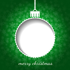 Christmas graphic in green color - bauble, snow, place for text