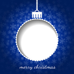 Christmas graphic in blue color - bauble, snow, place for text