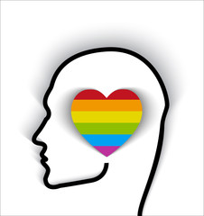 head contour with heart gay flag - proud of being gay