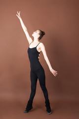 Girl doing gymnastics sport element