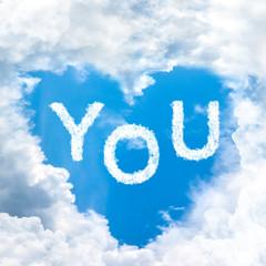 sky heart shaped by cloud