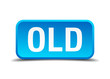 Old blue 3d realistic square isolated button