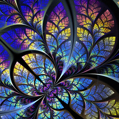 Fabulous fractal pattern in blue and yellow. Collection - tree f