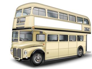 Doppelstockbus mit Werbefläche, freigestellt