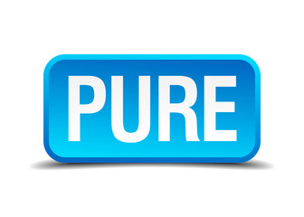 Pure blue 3d realistic square isolated button