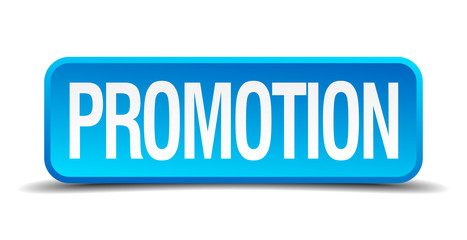 Promotion blue 3d realistic square isolated button