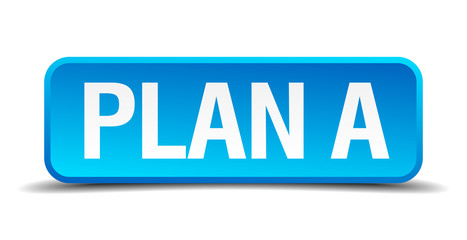 Plan A blue 3d realistic square isolated button