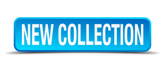 new collection blue 3d realistic square isolated button