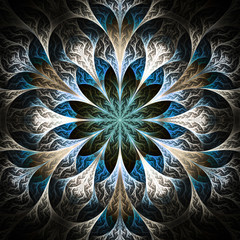 Beautiful fractal flower in black, beige and blue. Computer gene