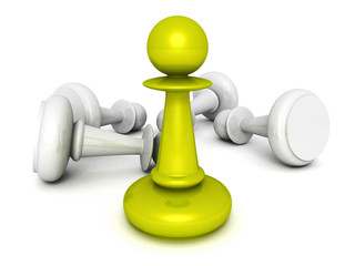 leadership concept green pawn forward