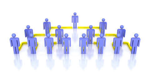 Corporate hierarchy business network 3d people