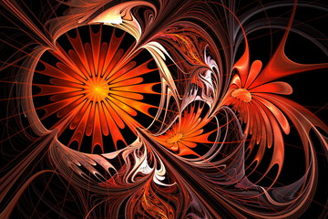 Flower background. Orange and black palette. Fractal design.