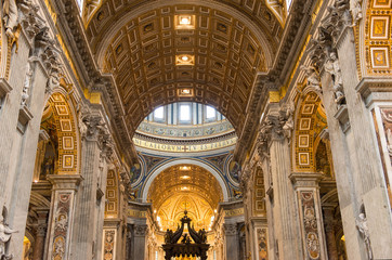 Interior of the St  Peter's Basilica in Rome, Italy