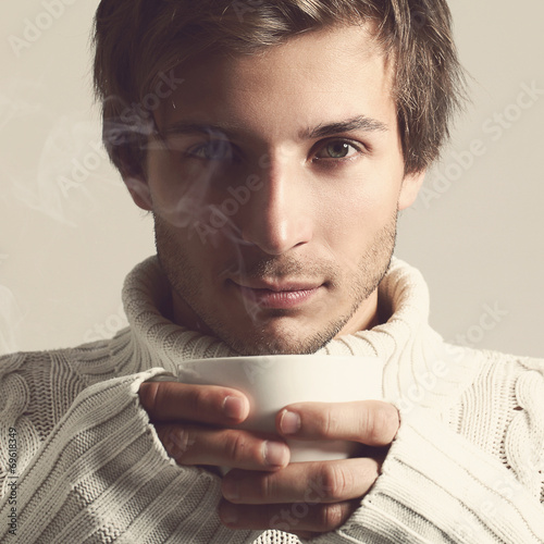 canvas print picture Handsome man in sweater
